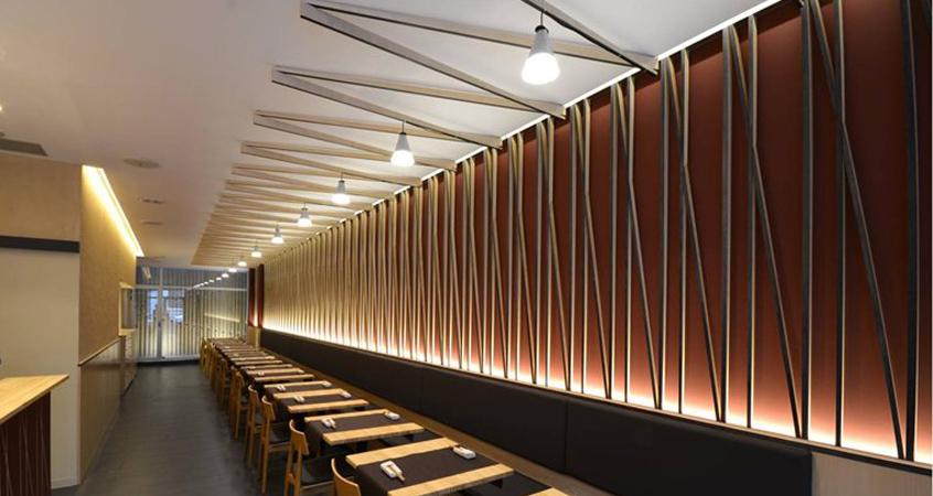 Can Nick Restaurant ceiling, wall installation & bar - MEDIO Design